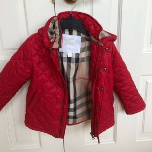 Red Burberry Jacket .